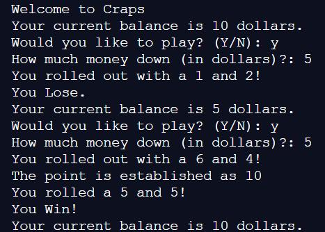 Craps Simulator Example